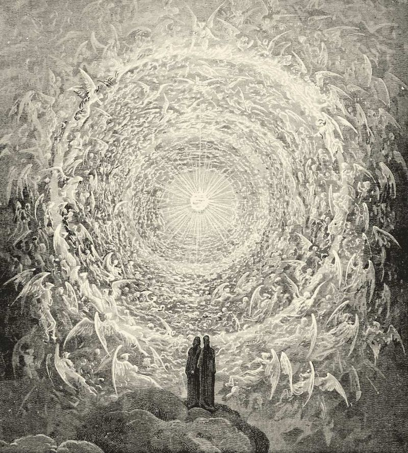 Dante and Beatrice gaze upon the highest Heaven, The Empyrean